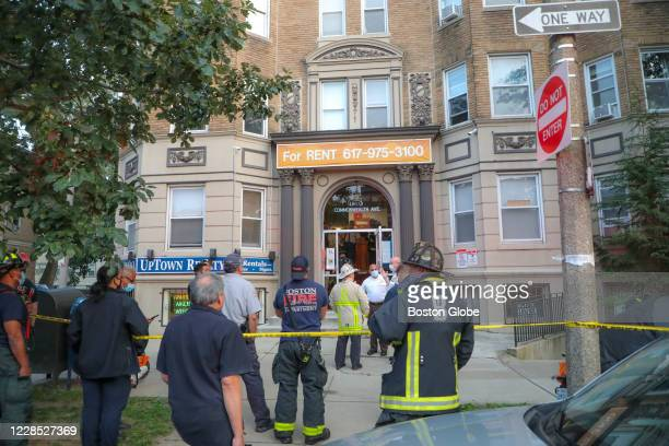 Boston Fire and Boston Police on the scene at 1140 Commonwealth Avenue where a woman in her 30s died in an elevator accident in Boston's Brighton, MA...