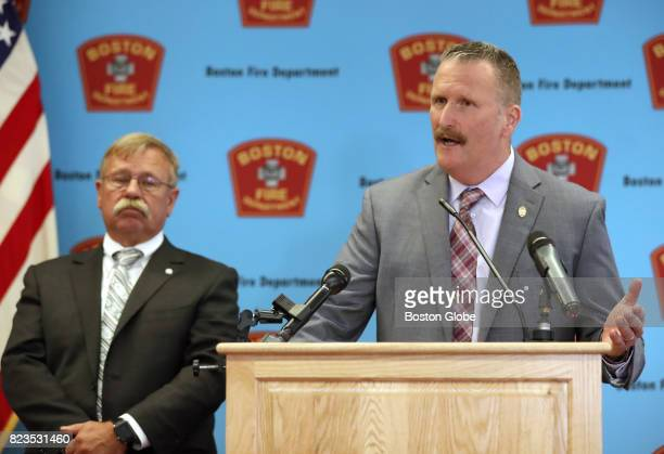 Boston Fire Commissioner Joseph Finn right and Inspectional Services Commissioner William Christopher left hold a press conference releasing the...