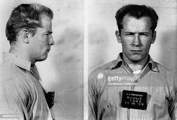 Boston gangster James 'Whitey' Bulger, Jr. Poses for a mugshot on his arrival at the Federal Penitentiary at Alcatraz on November 16, 1959 in San...