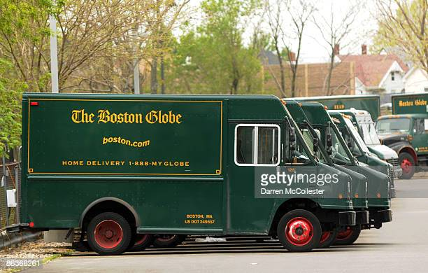 Boston Globe delivery trucks sit parked outside the papers headquarters May 4 2009 in Dorchester Massachusetts Negotiations between the New York...