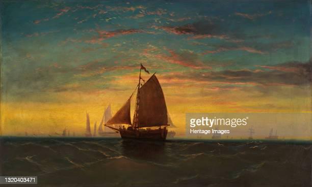 Boston Harbor, circa 1860-1869. Artist Charles Manger.