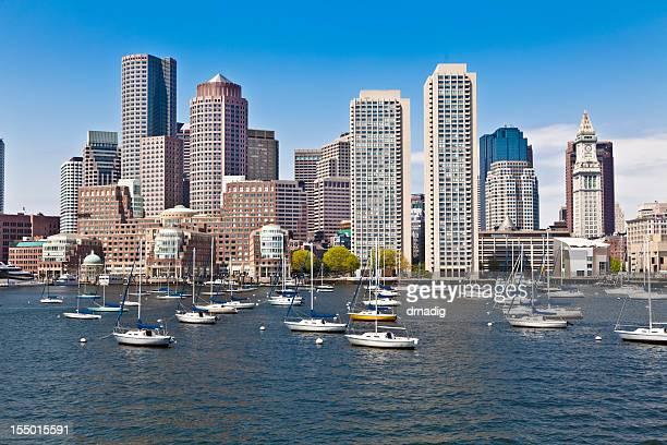 Boston Harbor Cityscape, Anchored Sailboats Under Blue Sky