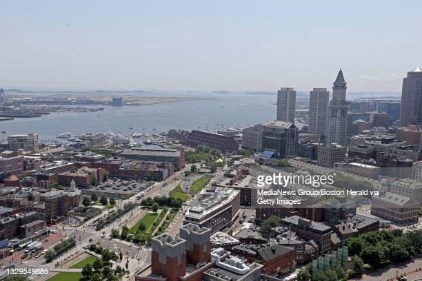 Boston Harbor. General views of the skyline from 1 Congress St. On July 15, 2021 in , Boston, MA.