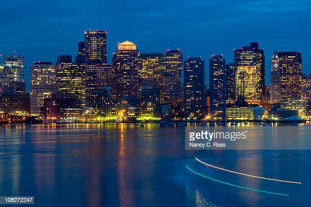 boston harbor, skyline, massachusetts, buildings, lights, night, star filter - boston skyline stock pictures, royalty-free photos & images