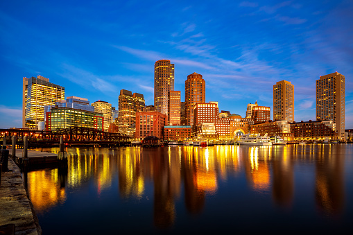 Boston harbour with cityscape and skyline on sunset 1124402275