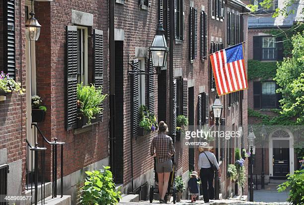 boston hill - acorn street boston stock pictures, royalty-free photos & images