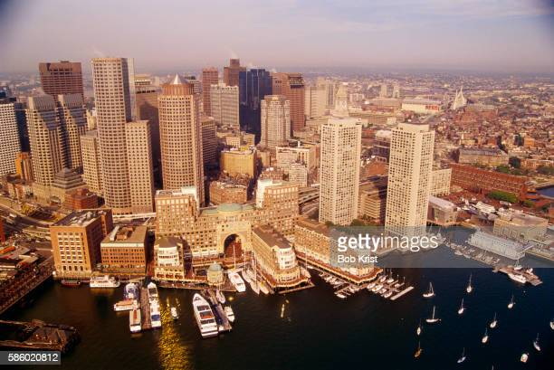 boston inner harbor and skyline - bos stock pictures, royalty-free photos & images