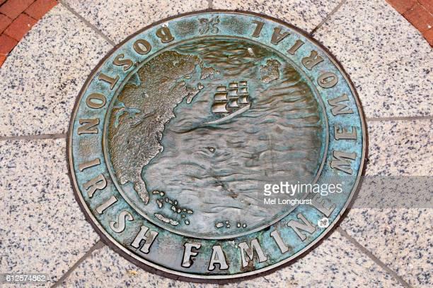 boston irish famine memorial plaque, washington street, boston, massachusetts, usa - irish potato famine stock pictures, royalty-free photos & images