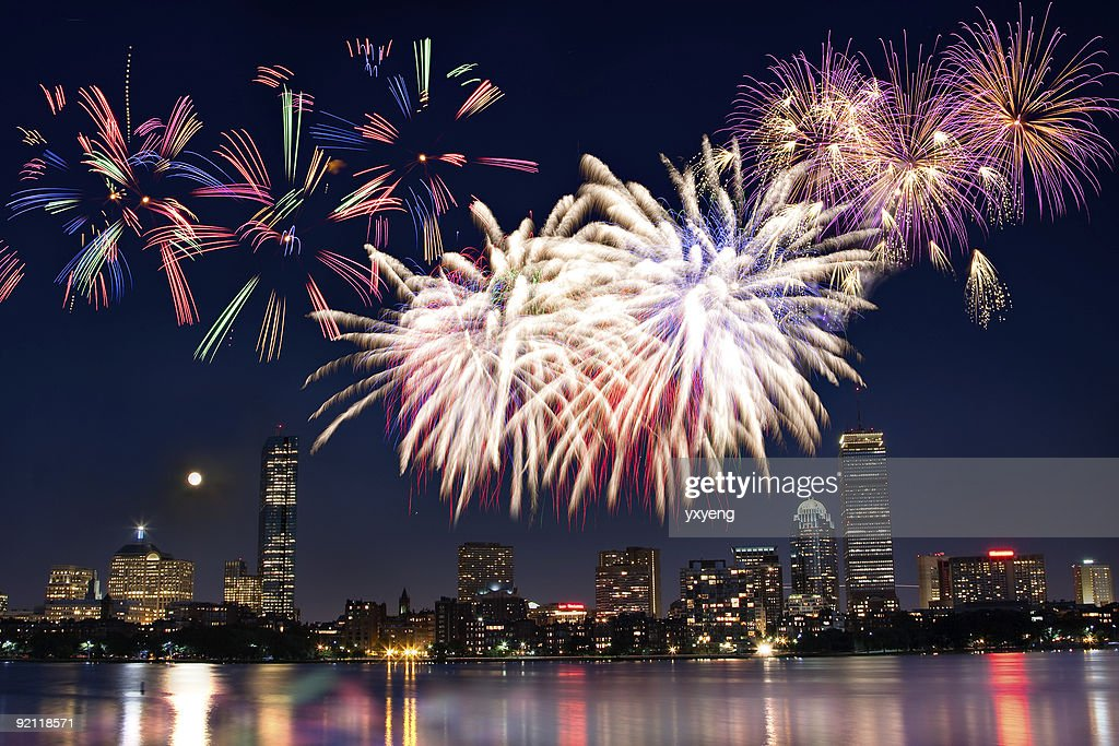 Boston July 4th National Day Fireworks : Stock Photo