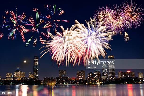 boston july 4th national day fireworks - boston stock pictures, royalty-free photos & images