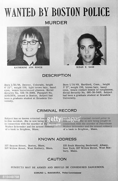 10/2/1970 Boston MA Katherine Ann Power and Susan E Saxe are shown pictured in wanted poster issued by Boston Police Both girls are being sought in...