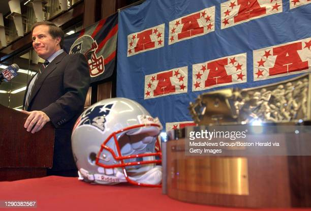 Boston, MA - Patriots' coach Bill Belichick at press conference Logan Airport Hyatt Harborside Hotel. The AFC championship trophy is waiting to go to...