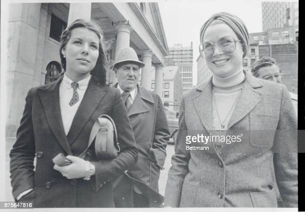 Princess Grace and daughter Princess Caroline accompanied by two security guards depart from Boston's Quincy Market area 5/1 after dining at one of...