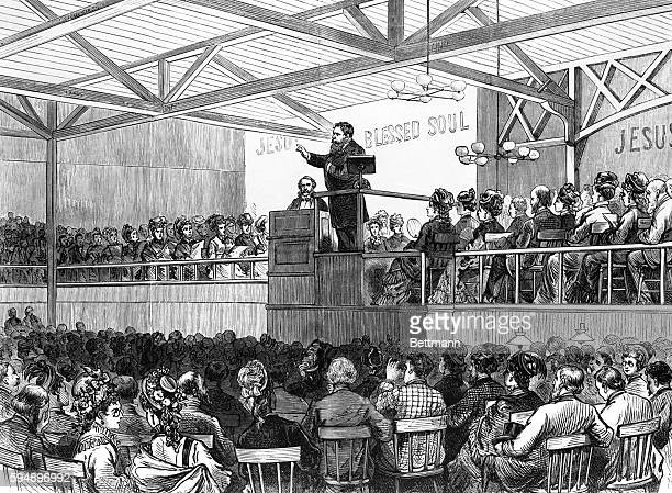 Boston, MA: Revival meeting conducted by Messrs. Moody and Sankey in the Boston Tabernacle. Woodcut, 1877.