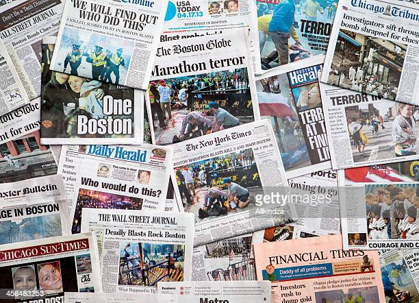 boston marathon bombing headline collage featuring globe - de media stockfoto's en -beelden