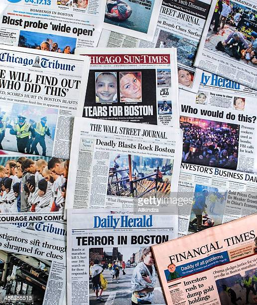 Boston Marathon Bombing headline collage