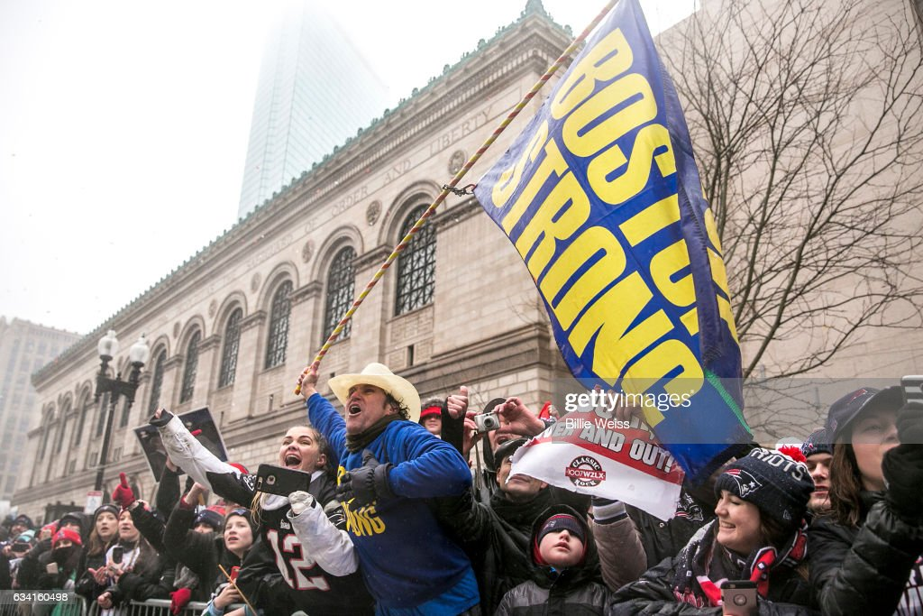 Boston Marathon bombing hero Carlos Arredondo watches the New England Patriots Super Bowl victory parade on February 7, 2017 in Boston, Massachusetts. The Patriots defeated the Atlanta Falcons 34-28 in overtime in Super Bowl 51.