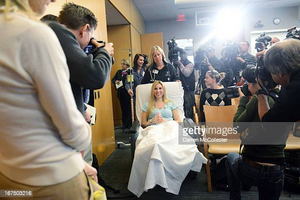 Boston Marathon bombing victim Heather Abbott of Newport Rhode Island is wheeled into a press conference at Brigham and Women's Hospital April 25...