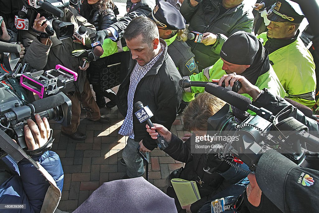 Boston Marathon bombing victim Marc Fucarile leaves court after bombing suspect Dzhokhar Tsarnaev appeared back in federal court for a pre-trail hearing at the Moakley Courthouse.