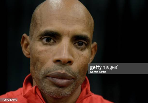 Boston Marathon Champion Meb Keflezighi poses for a portrait at the Health Fitness Expo during Humana Rock 'n' Roll San Antonio Marathon and 1/2...
