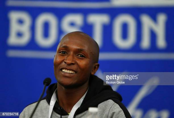 Boston Marathon Mens Champion Geoffrey Kirui speaks during a wrapup press conference for the marathon at the Fairmont Copley Plaza in Boston on Apr...