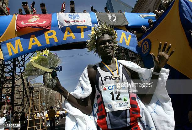 Boston Marathon men's winner Robert Kipkoech Cheruiyot waves to the cameras and crowd following his victory today with a winning time of 21011
