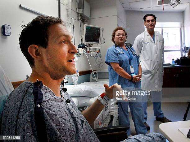 Boston Marathon runner Ari Ofsevit during media availability in the intensive care unite of the Tufts Medical Center in Boston April 20 where he was...
