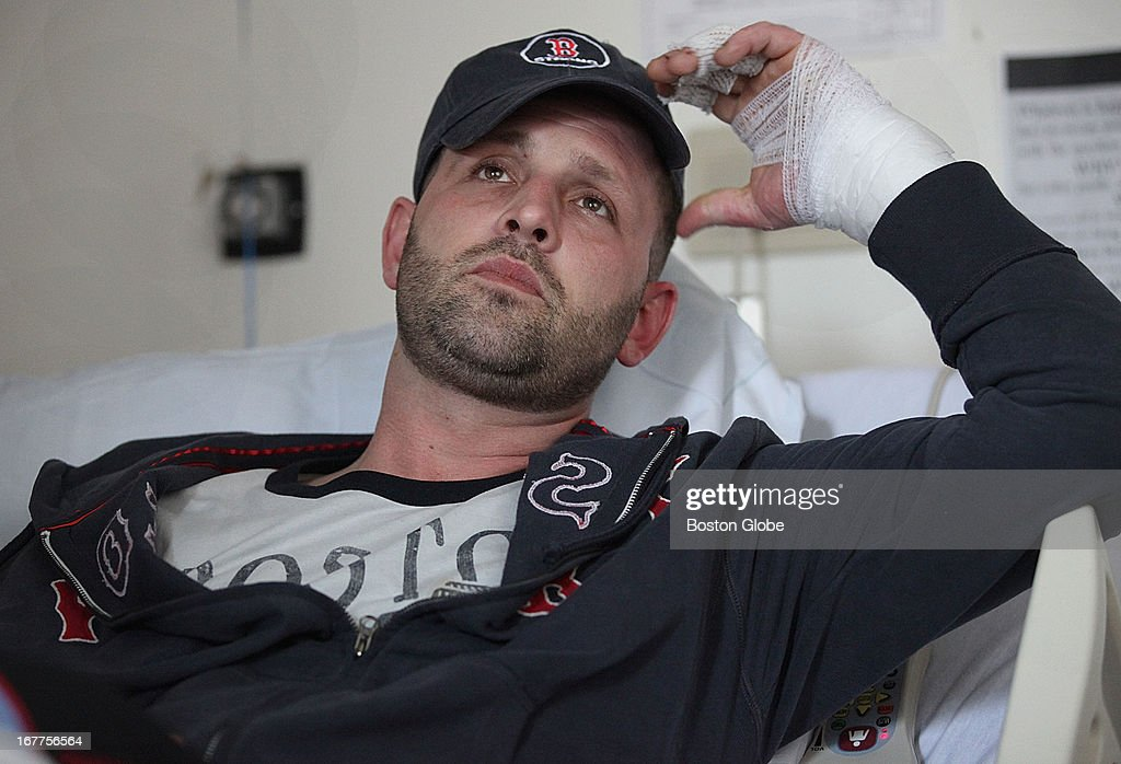 Boston Marathon victim Jarrod Clowery of Stoneham recalled events of that day from his bed at Brigham & Women's Hospital in Boston, Friday, April 26, 2013.