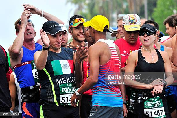 Boston Marathon winner Meb Keflezighi greets runners at the Suja Rock 'n' Roll San Diego Marathon Half Marathon benefitting the Leukemia Lymphoma...