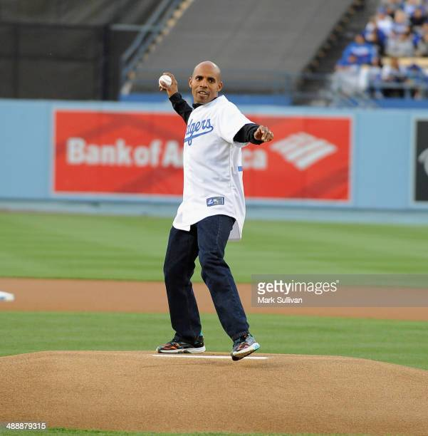 Boston Marathon winner Meb Keflezighi throws out the ceremonial first pitch before the game between the San Francisco Giants and the Los Angeles...