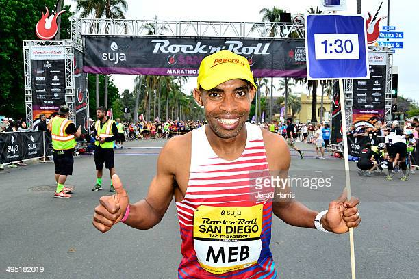 Boston Marathon winner Med Keflezighi participates in the Suja Rock 'n' Roll San Diego Marathon Half Marathon to benefit the Leukemia Lymphoma...