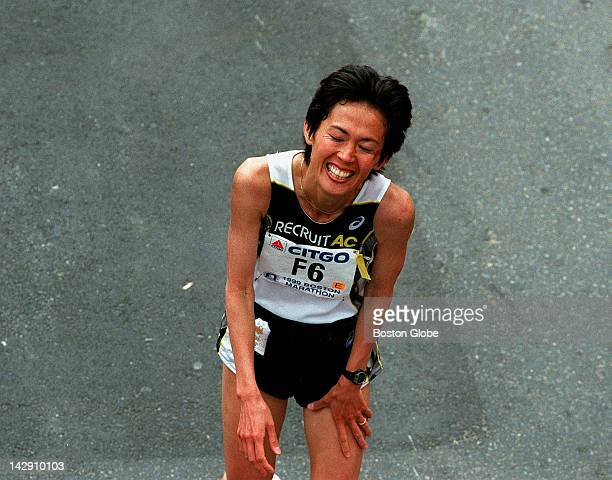 Boston Marathon women's Yuko Arimori from Japan at the finish line