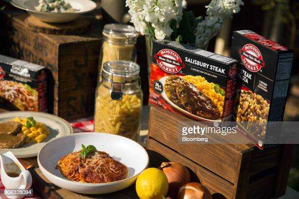 Boston Market meals are presented during news conference at the US ambassador's residence in Bangkok Thailand on Thursday Jan 18 2018...