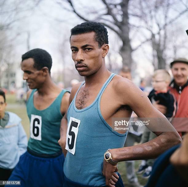 Ethiopian runner Abebe Bikila and teammate Mano Wolde after April 19th Boston Marathon