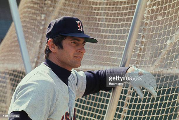 Carl Yastrzemski Boston Red Sox outfielder shown in head and shoulders shots outdoors at the stadium