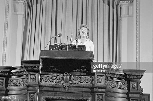 Feminist Betty Friedan speaks from the pulpit at the Arlington Street Church 8/23 the founder of the National Organization for Women wants husbands...