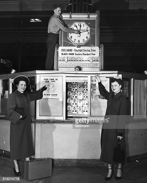 Boston Massachusetts The Misses Margaret L Dowling and Jean Baker of Roslindale get a preview of how the clocks in South Station at Boston will...
