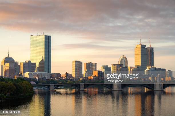boston, massachusetts, usa downtown cityscape from across the charles river at dawn. - cambridge massachusetts stock pictures, royalty-free photos & images