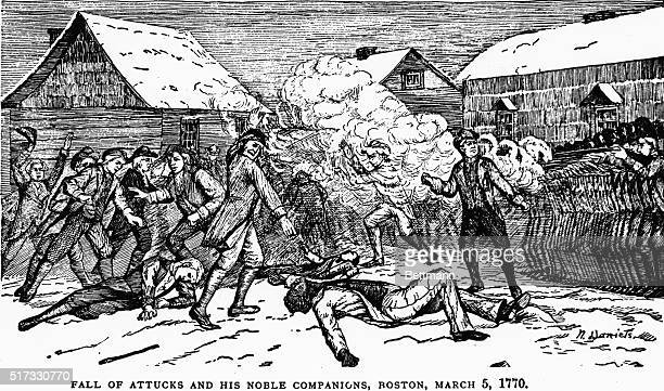3/5/1770 Boston Massacre death of Crispus Attucks Line drawing