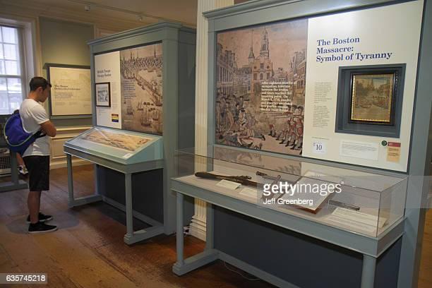 Boston Massacre exhibit inside the Old State House.