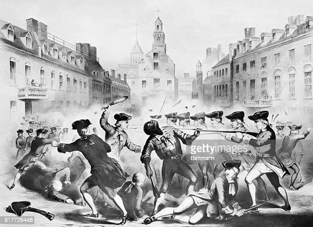 Boston Massacre March 5th 1770 Lithograph showing Crispus Attucks one of the leaders of the demonstration and one of the five men killed by the gun...