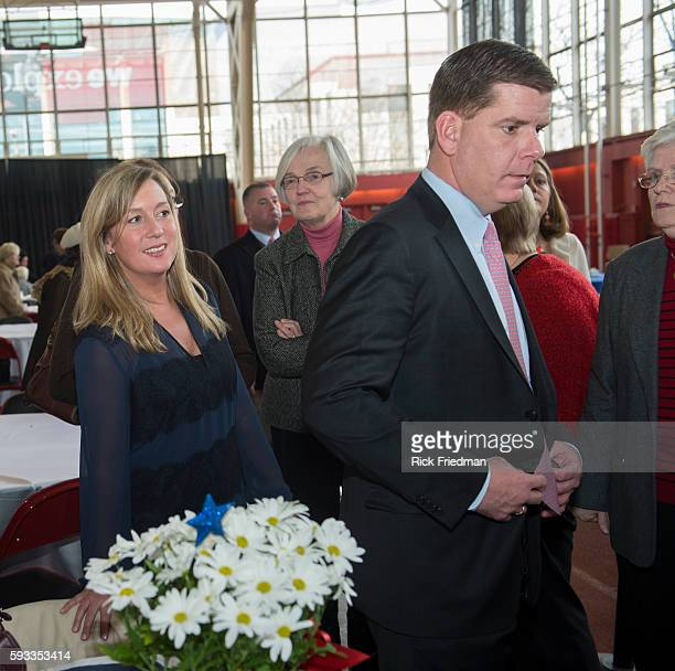 Boston Mayor elect Martin J Walsh the day before he is sworn in as Boston's new mayor with his girlfriend Lorrie Higgins at a seniors luncheon held...