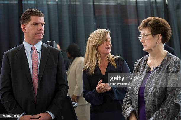Boston Mayor elect Martin J Walsh the day before he is sworn in as Boston's new mayor with his girlfriend Lorrie Higgins and his mother Mary Walsh at...