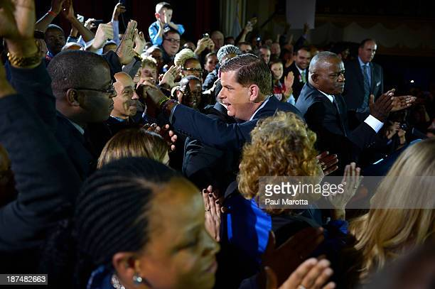 Boston Mayor Elect Marty Walsh congratulates and thanks friends, family and supporters on stage at the Park Plaza after winning Boston's election to...