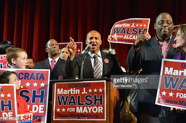 Boston Mayor Elect Marty Walsh is introduced by former Boston Mayoral Candidate John Barros on Election Eve at a campaign Rally at the Strand Theatre...