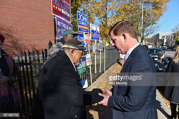 Boston Mayor Elect Marty Walsh meets with campaign supporters and Boston voters on election day in Boston on November 5. Walsh defeated John Connolly...