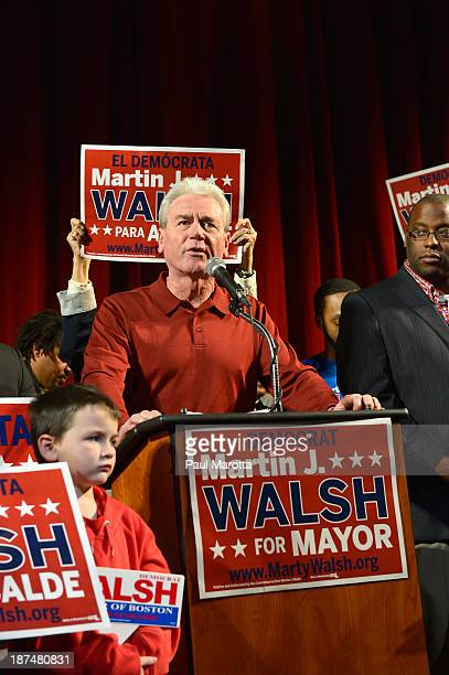 Boston Mayor Elect Marty Walsh on Election Eve at a campaign Rally at the Strand Theatre in Dorchester MA is introduced by President of the Laborers...