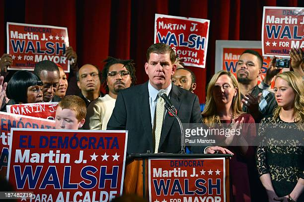 Boston Mayor Elect Marty Walsh on Election Eve at a campaign Rally at the Strand Theatre in Dorchester MA Walsh defeated John Connolly on November 5...