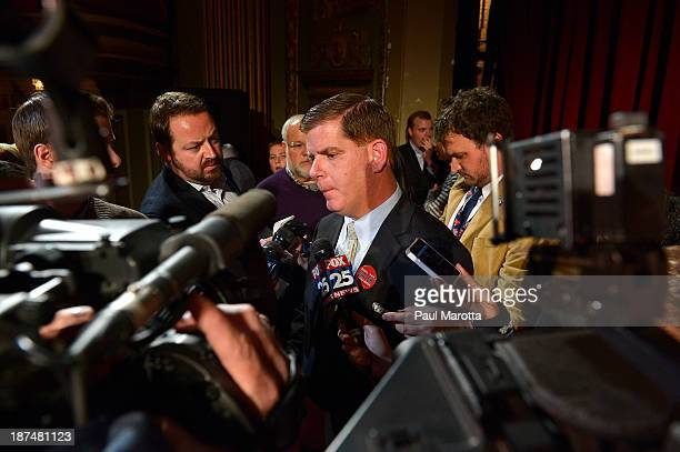 Boston Mayor Elect Marty Walsh speaks to reporters on Election Eve at a campaign Rally at the Strand Theatre in Dorchester, MA. Walsh defeated John...