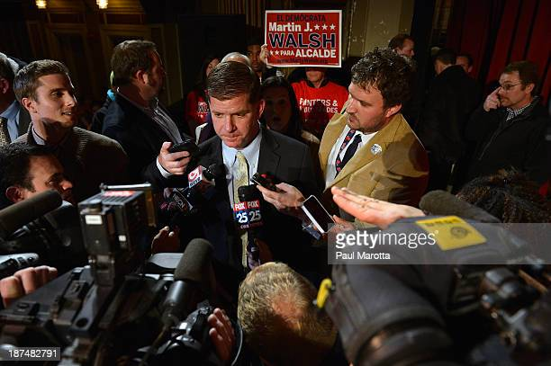 Boston Mayor Elect Marty Walsh speaks to reporters on Election Eve at a campaign Rally at the Strand Theatre in Dorchester MA Walsh defeated John...